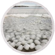 Ice Forming On Lake Round Beach Towel