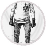 Ice Skater, 1880 Round Beach Towel