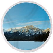Illuminated Winter Landscape By The Sun Round Beach Towel