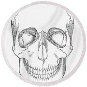 Illustration Of Anterior Skull Round Beach Towel