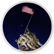 Iwo Jima Memorial At Dusk Round Beach Towel