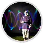 Juggling Light-up Balls Round Beach Towel