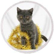 Kitten With Tinsel Round Beach Towel