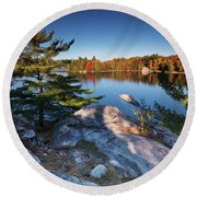 Lake George At Killarney Provincial Park In Fall Round Beach Towel