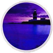 Lighthouse Beacon At Night Round Beach Towel