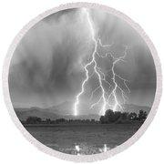Lightning Striking Longs Peak Foothills 6 Round Beach Towel by James BO  Insogna