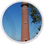 Little Sable Point Lighthouse Round Beach Towel
