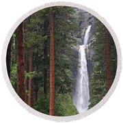 Lower Yosemite Falls Round Beach Towel