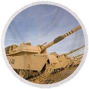 M1 Abrams Tanks At Camp Warhorse Round Beach Towel