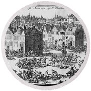 Massacre Of Huguenots Round Beach Towel