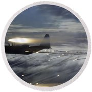 Mc-130p Combat Shadow Dropping Flares Round Beach Towel