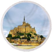 Mont Saint Michel Round Beach Towel by Elena Elisseeva