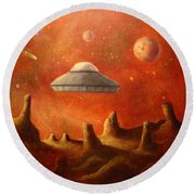 Mysterious Planet Round Beach Towel