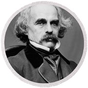 Nathaniel Hawthorne, American Author Round Beach Towel by Photo Researchers