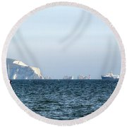 Needles On The Isle Of Wight As Viewed From Mudeford Round Beach Towel