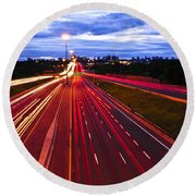 Night Traffic Round Beach Towel