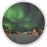Northern Lights Above Village Round Beach Towel