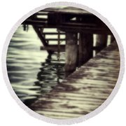 Old Wooden Pier With Stairs Into The Lake Round Beach Towel
