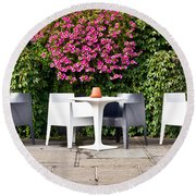 Outdoor Cafe Round Beach Towel by Tom Gowanlock