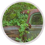 Overgrown Rusty Ford Pickup Truck Round Beach Towel