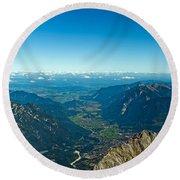Panoramic View Zugspitze German Austrian Boarder Round Beach Towel