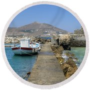 Paros - Cyclades - Greece Round Beach Towel