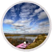 Pink Boat In Scenic Saskatchewan Round Beach Towel