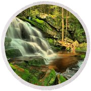 Pool In The Forest Round Beach Towel
