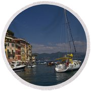 Portofino In The Italian Riviera In Liguria Italy Round Beach Towel