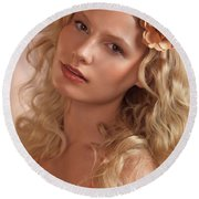 Portrait Of A Beautiful Young Woman Round Beach Towel