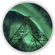 Powerlines And Aurora Borealis Round Beach Towel by Arild Heitmann