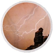Praying Monk Camelback Mountain Lightning Monsoon Storm Image Tx Round Beach Towel by James BO  Insogna