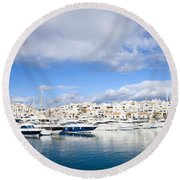 Puerto Banus In Spain Round Beach Towel