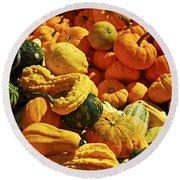 Pumpkins And Gourds Round Beach Towel
