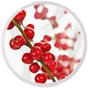 Red Christmas Berries Round Beach Towel by Elena Elisseeva