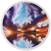 Reflections Of The Mind Round Beach Towel