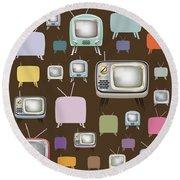 retro TV pattern  Round Beach Towel
