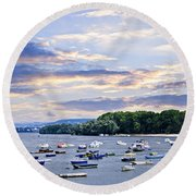 River Boats On Danube Round Beach Towel