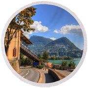 Road And Mountain Round Beach Towel
