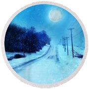 Rural Road In Winter Round Beach Towel