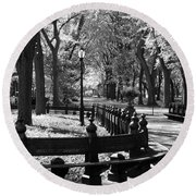 Scenes From Central Park Round Beach Towel