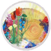 Seeds Round Beach Towel