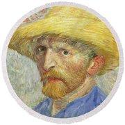 Self Portrait Round Beach Towel by Vincent van Gogh
