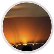 Setting Sun Peaking Out From Storm Clouds In Saskatchewan Round Beach Towel