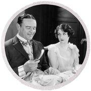 Silent Film: Restaurants Round Beach Towel