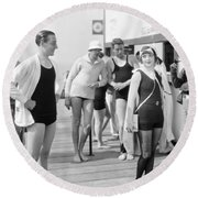 Silent Film Still: Beach Round Beach Towel