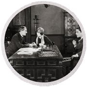 Silent Film Still: Offices Round Beach Towel