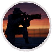 Silhouette Of A U.s Marine On A Bunker Round Beach Towel