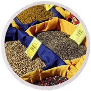 Spices On The Market Round Beach Towel