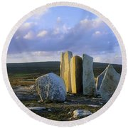 Standing Stones, Blacksod Point, Co Round Beach Towel